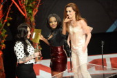 Siobhán Donaghy Mutya Buena and Keisha Buchanan perform onstage at the annual NME Awards at Brixton Academy on February 26 2014 in London England