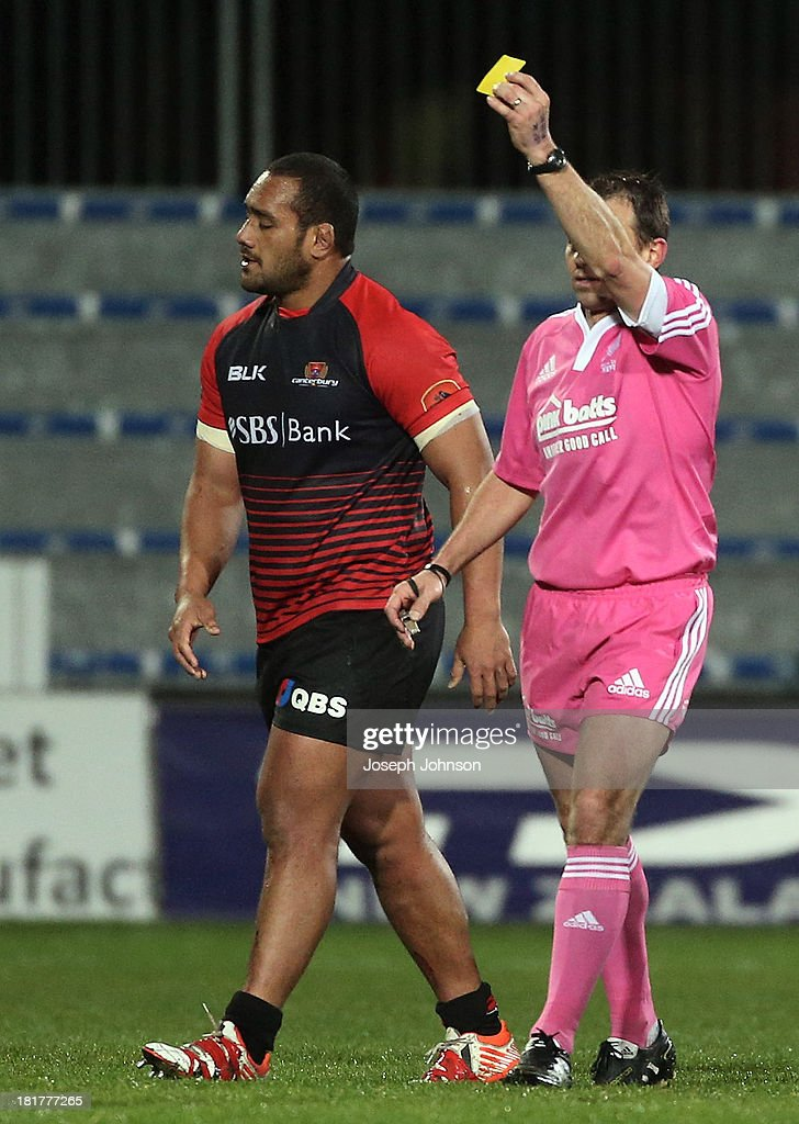 Sione Faletau of Canterbury is yellow carded by referee Chris Pollock during the round 7 ITM Cup match between Canterbury and Manawatu at AMI Stadium on September 25, 2013 in Christchurch, New Zealand.