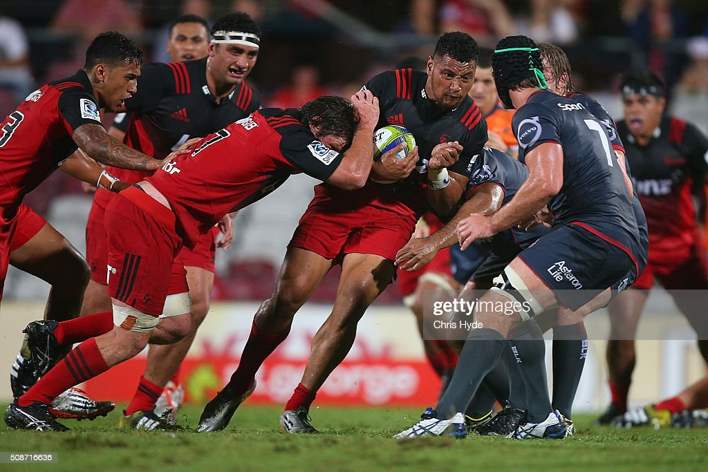 Sione Fifita of the Crusaders runs the ball during the Super Rugby pre-season match between the Reds and the Crusaders at Ballymore Stadium on February 6, 2016 in Brisbane, Australia.