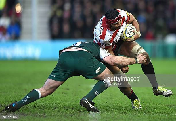 Sione Kalamafoni of Gloucester Rugby in action during the Aviva Premiership match between Gloucester Rugby and Leicester Tigers at Kingsholm Stadium...