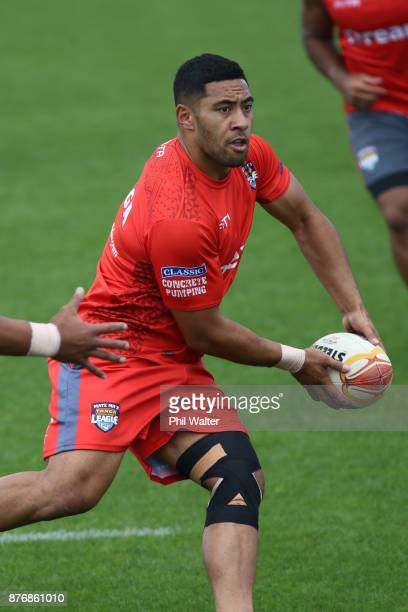 Sione Katoa of Tonga passes during a Tonga Rugby League World Cup training session at Mt Smart Training Field on November 21 2017 in Auckland New...