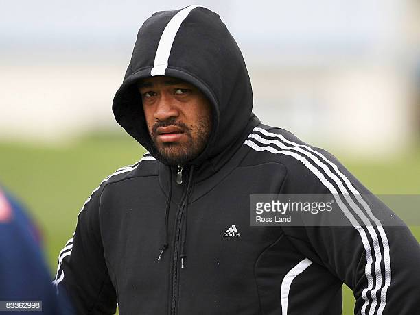 Sione Lauaki looks on during day one of a the New Zealand All Blacks training camp at Fort Takapuna on October 21 2008 in Auckland New Zealand