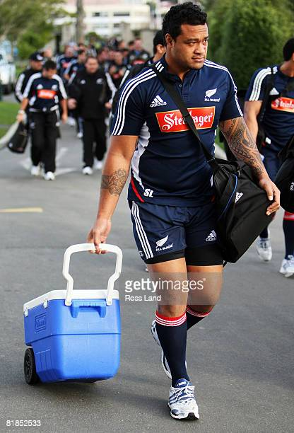 Sione lauaki of the All Blacks arrives for a New Zealand All Blacks training session at University Oval on July 08 2008 in Dunedin New Zealand