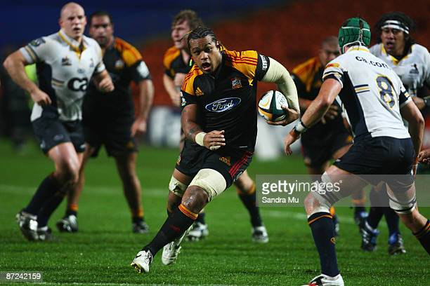 Sione Lauaki of the Chiefs in action during the round 14 Super 14 match between the Chiefs and the Brumbies at Waikato Stadium on May 15 2009 in...