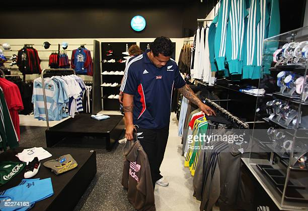 Sione Lauaki of the New Zealand All Blacks during a signing session at an adidas store in Canal Walk following a training session at Bishops School...