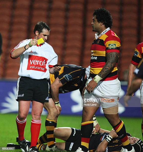 Sione Lauaki of Waikato is shown a yellow card by referee Bryce Lawrence during the Air New Zealand Cup match between Waikato and Taranaki at Waikato...
