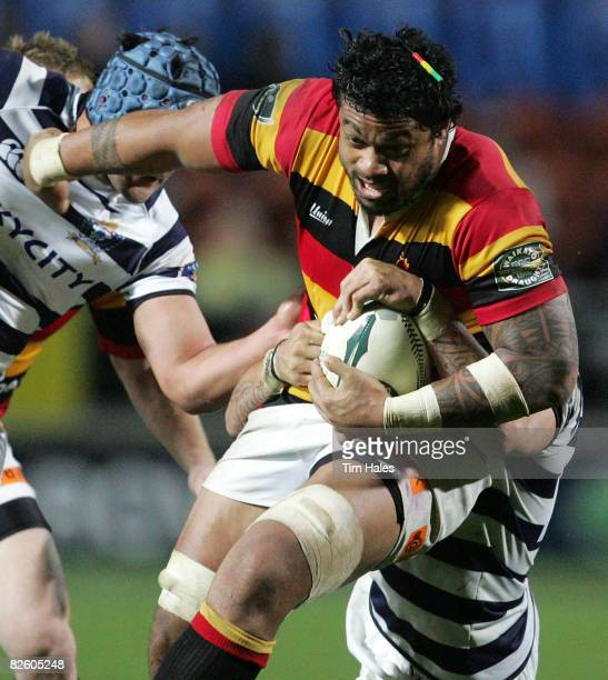 Sione Lauaki of Waikato is tackled during the Air New Zealand Cup match between Waikato and Auckland held at Waikato Stadium August 30 2008 in...