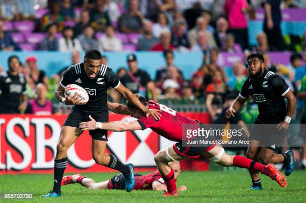 Sione Molia of New Zealand competes during the 2017 Hong Kong Sevens match between New Zealand and Wales at Hong Kong Stadium on April 7 2017 in Hong...
