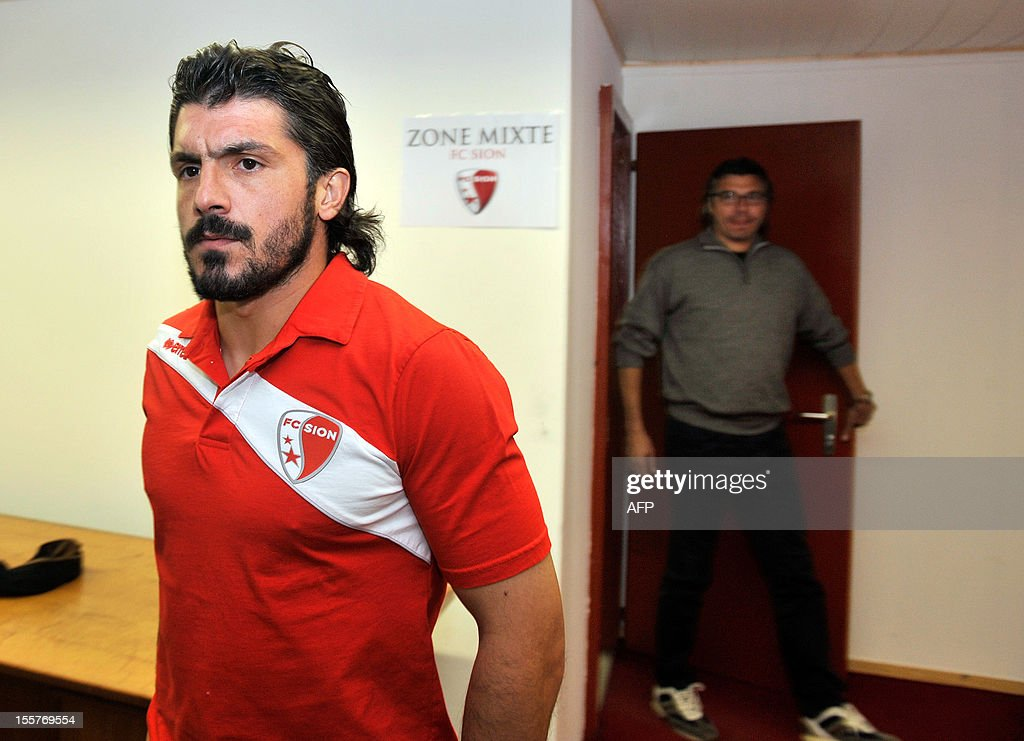 FC Sion's Italian captain Gennaro Gattuso arrives for a press conference on November 8, 2012 in Sion. AFP PHOTO / SEBASTIEN FEVAL