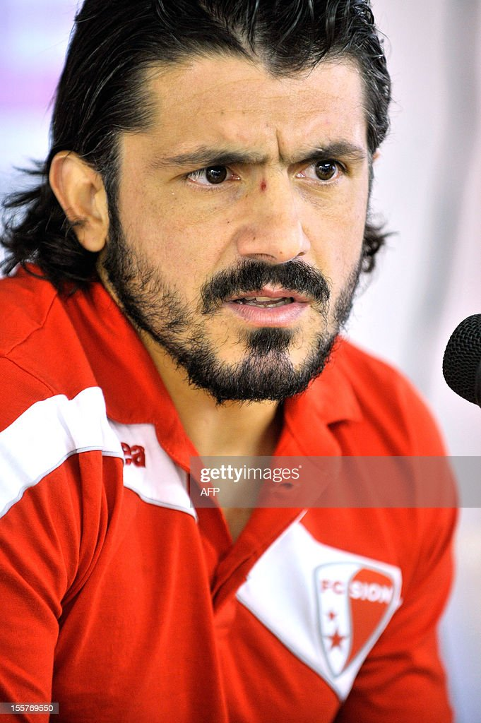 FC Sion's Italian captain Gennaro Gattuso talks during a press conference on November 8, 2012 in Sion.