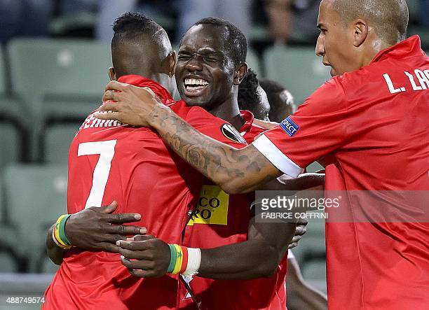Sion's Senegalese forward Moussa Konate celebrates his team's second goal during the UEFA Europa League group B football match between FC Sion and FC...