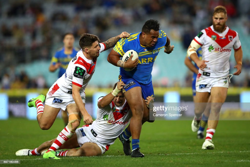Siosaia Vave of the Eels runs the ball during the round 15 NRL match between the Parramatta Eels and the St George Illawarra Dragons at ANZ Stadium on June 18, 2017 in Sydney, Australia.