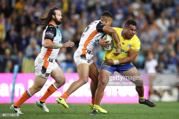 Siosaia Vave of the Eels runs the ball during the round 20 NRL match between the Wests Tigers and the Parramatta Eels at ANZ Stadium on July 23 2017...