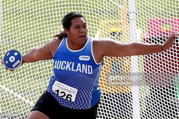 Siositina Hakeai competes in the Senior Women Discus Throw during the 2016 National Track Field Championships on March 4 2016 in Dunedin New Zealand