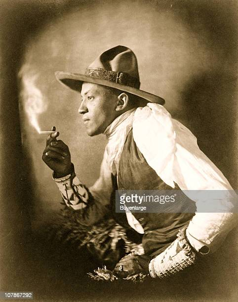 Sioux Indian smoking cigarette 1908