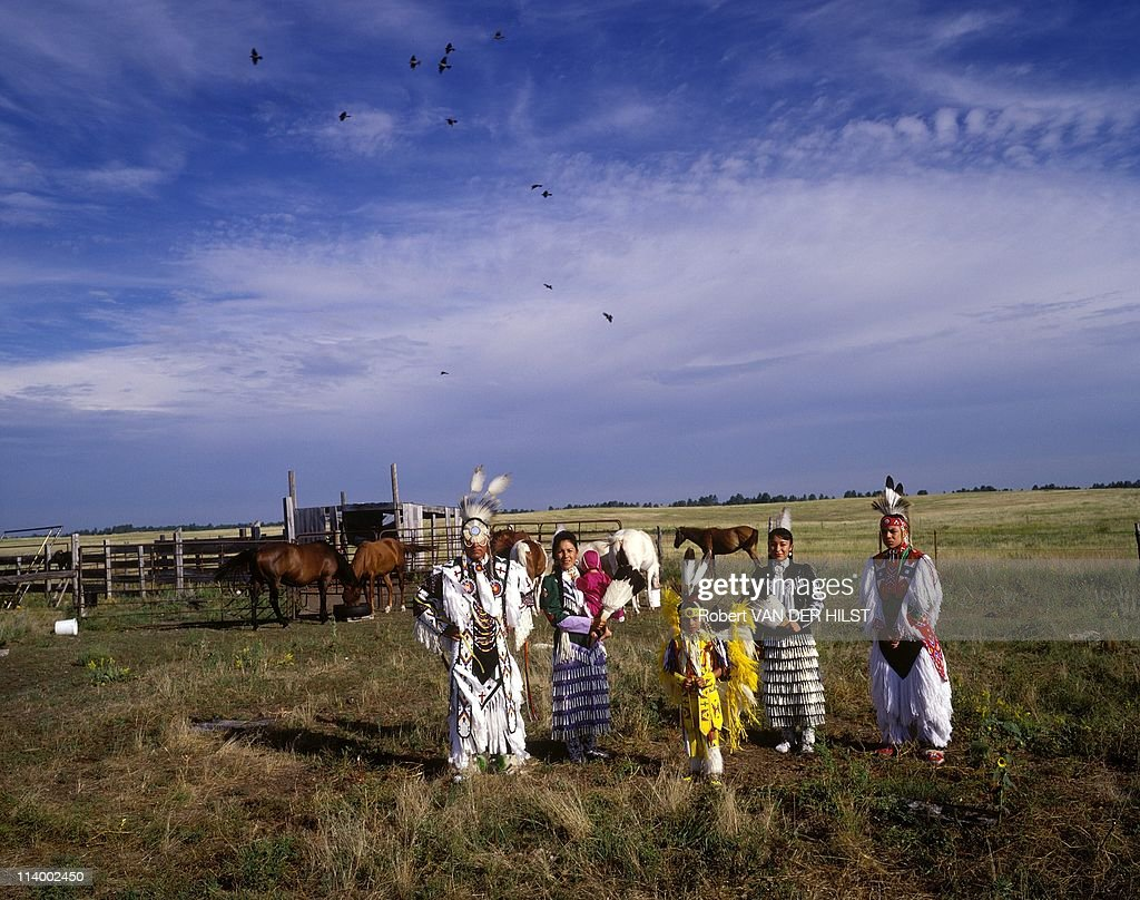 Sioux Lakota in Rosebud Reservation In United States In April 2003One star family with pow wow dancing costume