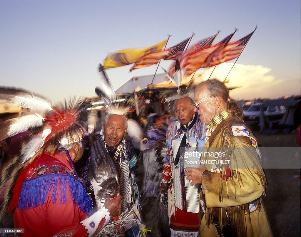 Sioux Lakota in Rosebud Reservation In United States In April 2003Group of vets defenders of old customs