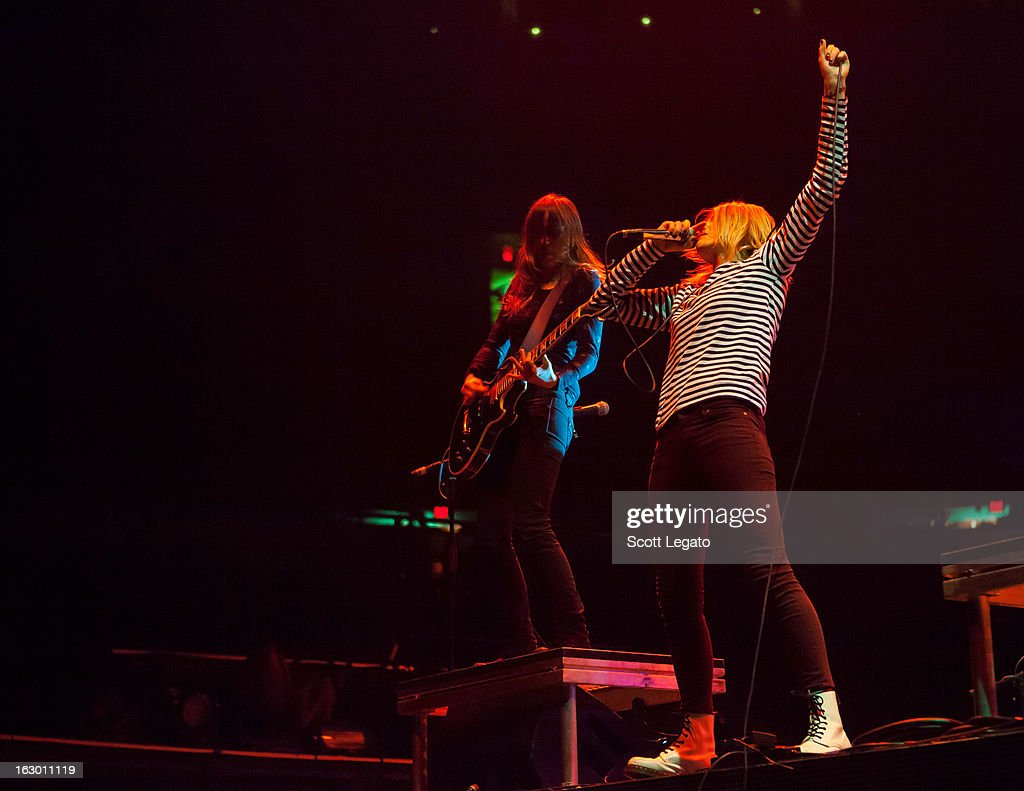 Siouxsie Medley (L) and Emily Armstrong of Dead Sara performs at Joe Louis Arena on March 2, 2013 in Detroit, Michigan.