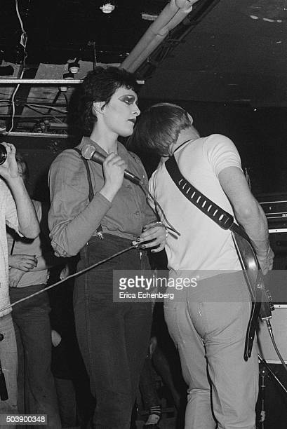 Siouxsie Sioux and Peter Fenton of Siouxsie and The Banshees perform on stage at punk club The Roxy London 1977