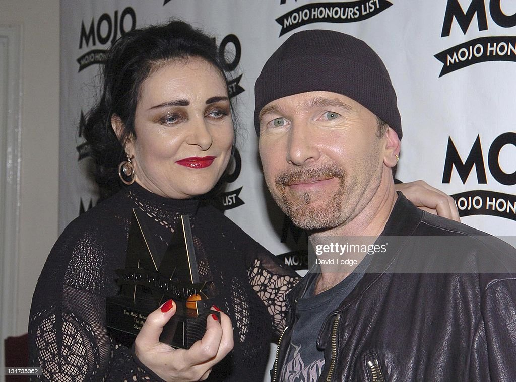 <a gi-track='captionPersonalityLinkClicked' href=/galleries/search?phrase=Siouxsie+Sioux&family=editorial&specificpeople=714537 ng-click='$event.stopPropagation()'>Siouxsie Sioux</a> and The Edge during 2005 Mojo Honours List Awards - Press Room at Porchester Hall in London, Great Britain.