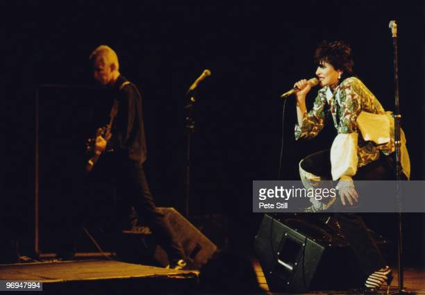 Siouxsie Sioux of Siouxsie and The Banshees and Steve Severin perform on stage at Hammersmith Odeon on November 11th 1978 in London England