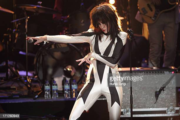Siouxsie Sioux performs on stage at Meltdown Festival 2013 at the Royal Festival Hall on June 23 2013 in London England