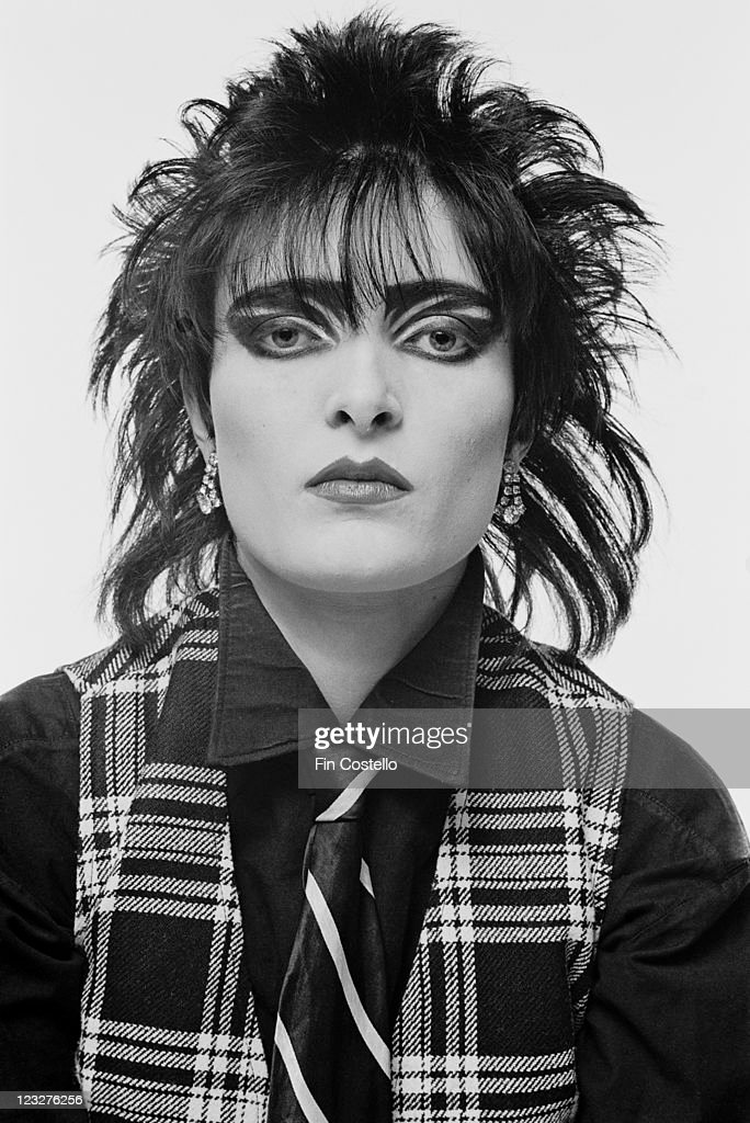 Siouxsie Sioux, singer with British punk band Siouxsie and the Banshees, in a studio portrait, against a white background, United Kingdom, 1979.