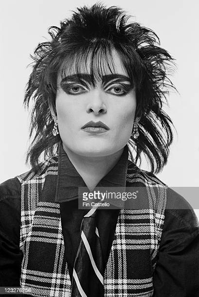 Siouxsie Sioux singer with British punk band Siouxsie and the Banshees in a studio portrait against a white background United Kingdom 1979
