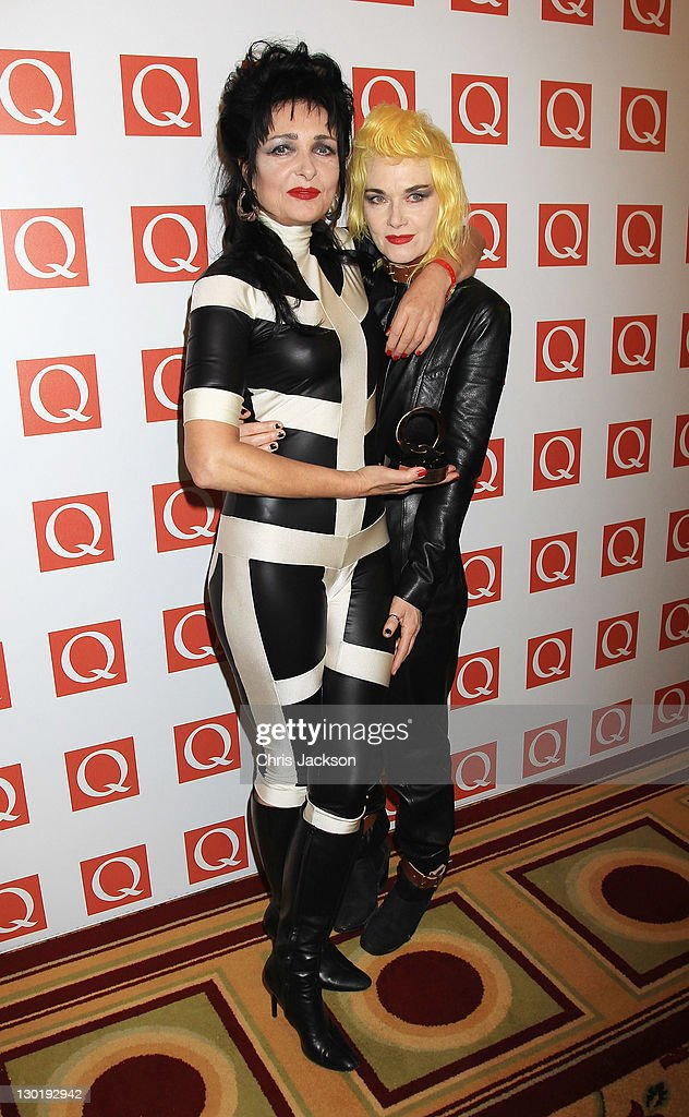 <a gi-track='captionPersonalityLinkClicked' href=/galleries/search?phrase=Siouxsie+Sioux&family=editorial&specificpeople=714537 ng-click='$event.stopPropagation()'>Siouxsie Sioux</a> Winner of Oustanding Contribution to Music with Pam Hogg at the The Q Awards at The Grosvenor House Hotel on October 24, 2011 in London, England.