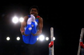 Siphesihle Biyase of South Africa competes in the Men's AllAround Final at the SSE Hydro during day seven of the Glasgow 2014 Commonwealth Games on...