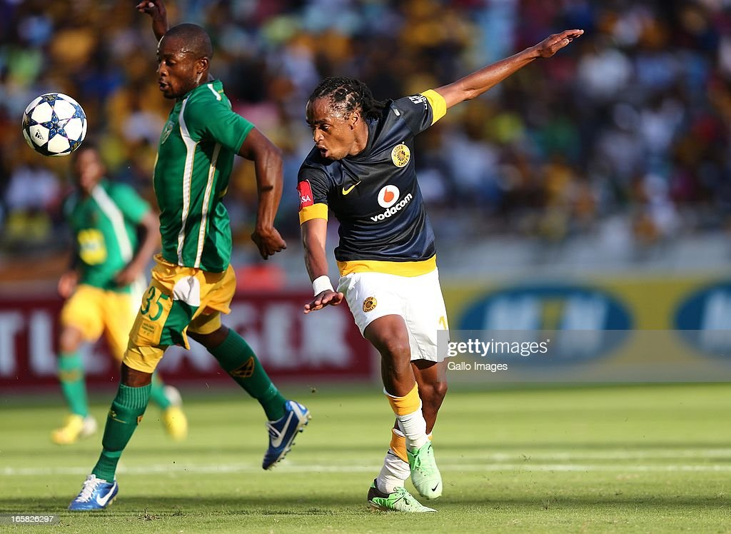 Siphiwe Tshabalal and Gift Sithole during the Absa Premiership match between Golden Arrows and Kaizer Chiefs at Moses Mabhida Stadium on April 06, 2013 in Durban, South Africa.