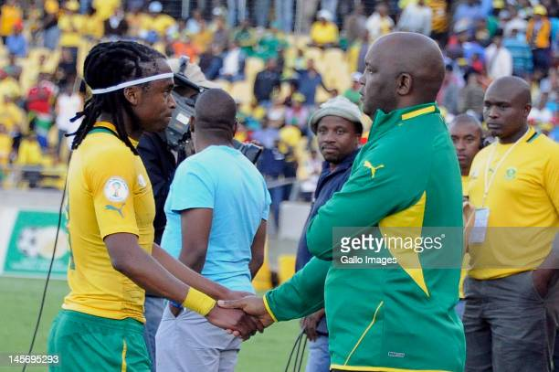 Siphiwe Tshabalala and Pitso Mosimane during the 2014 FIFA World Cup Qualifier match between South Africa and Ethiopia at Royal Bafokeng Stadium on...