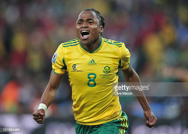 Siphiwe Tshabalala of South Africa celebrates scoring the first goal during the 2010 FIFA World Cup South Africa Group A match between South Africa...