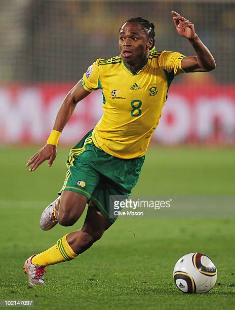 Siphiwe Tshabalala of South Africa in action during the 2010 FIFA World Cup South Africa Group A match between South Africa and Uruguay at Loftus...
