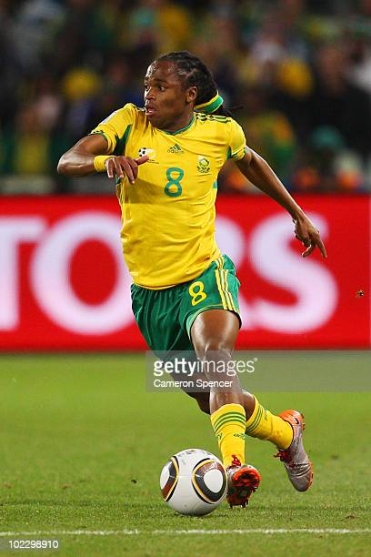Siphiwe Tshabalala of South Africa in action during the 2010 FIFA World Cup South Africa Group A match between France and South Africa at the Free...