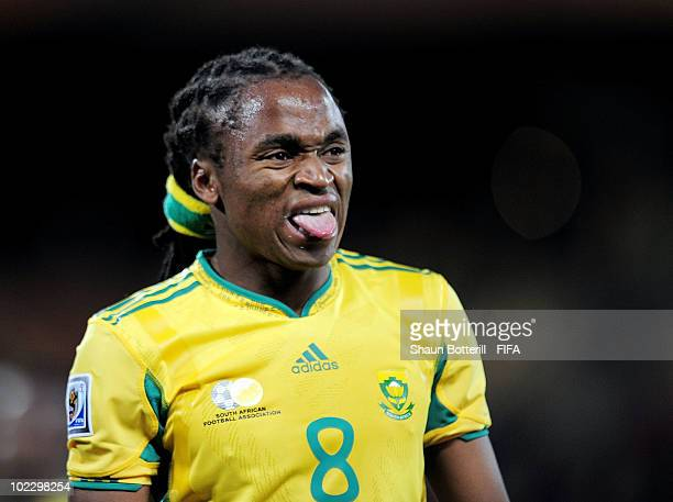Siphiwe Tshabalala of South Africa reacts after the 2010 FIFA World Cup South Africa Group A match between France and South Africa at the Free State...