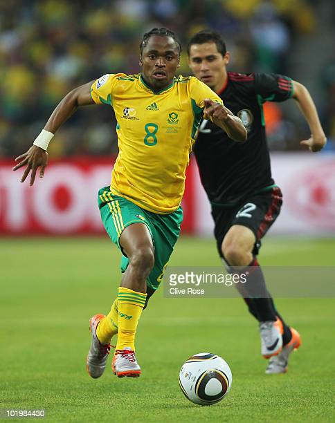 Siphiwe Tshabalala of South Africa runs with the ball during the 2010 FIFA World Cup South Africa Group A match between South Africa and Mexico at...
