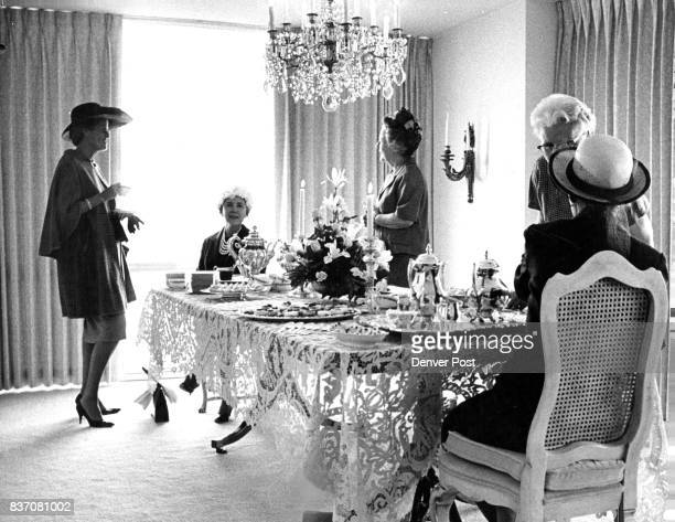 Sipping tea at the benefit are Mrs Edwin Francis standing left and Mrs Stanley Wallbank Mrs Basil Kidwell poured Credit Denver Post