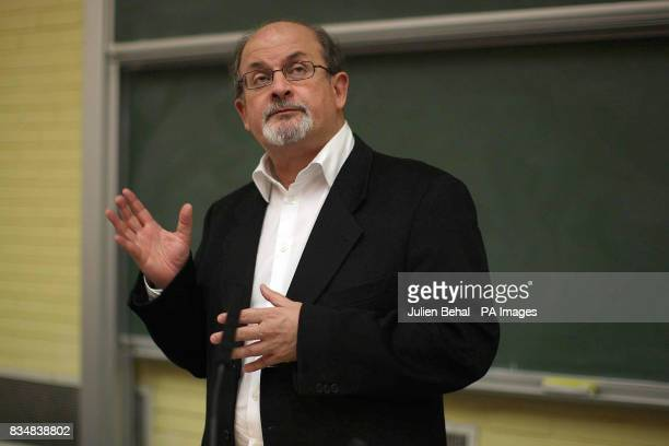 Sir Ahmed Salman Rushdie receives the James Joyce Award from the UCD Literary and Historical Society in Newman Building Belfield Dublin