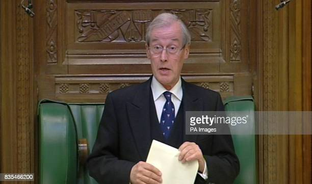 Sir Alan Haselhurst speaks at the House of Commons Westminster London after Commons Speaker Michael Martin announced his resignation to MPs