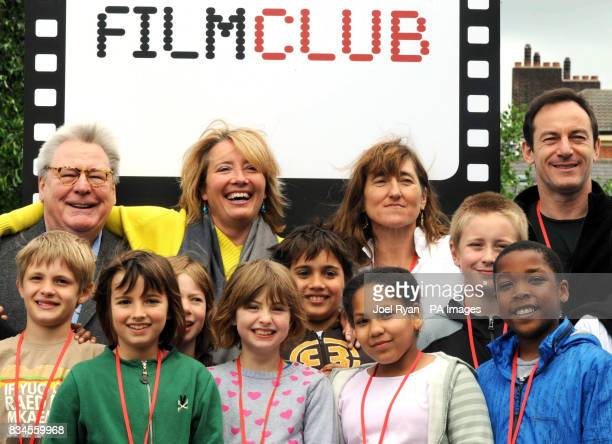 Sir Alan Parker actress Emma Thompson Beeban Kidron and actor Jason Isaacs launch the UK's Filmclub with Morpeth School pupils at the school in...