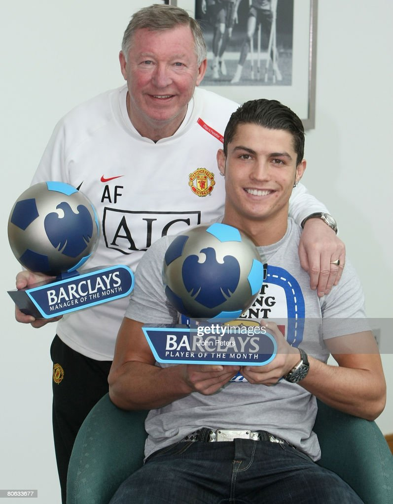 Sir Alex Ferguson and Cristiano Ronaldo of Manchester United pose with their Barclays Premier League Manager of the Month and Player of the Month awards for March 2008 at Carrington Training Ground on April 11 2008 in Manchester, England.