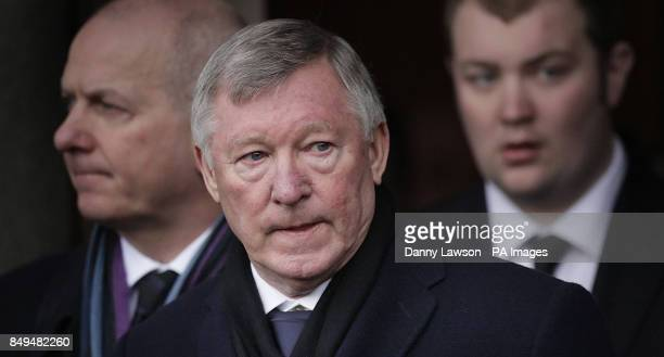 Sir Alex Ferguson attends the funeral of former Celtic assistant manager Sean Fallon at Christ the King Church in Glasgow Scotland