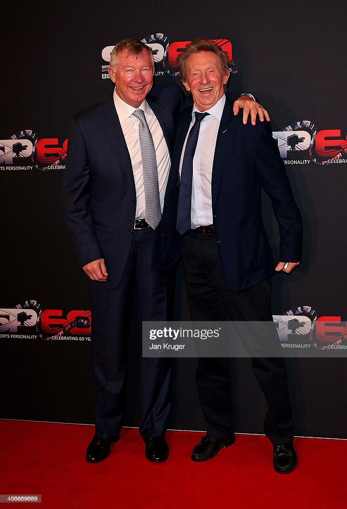Sir <a gi-track='captionPersonalityLinkClicked' href=/galleries/search?phrase=Alex+Ferguson&family=editorial&specificpeople=203067 ng-click='$event.stopPropagation()'>Alex Ferguson</a> CBE and Dennis Law CBE attend the BBC Sports Personality of the Year Awards at First Direct Arena on December 15, 2013 in Leeds, England.