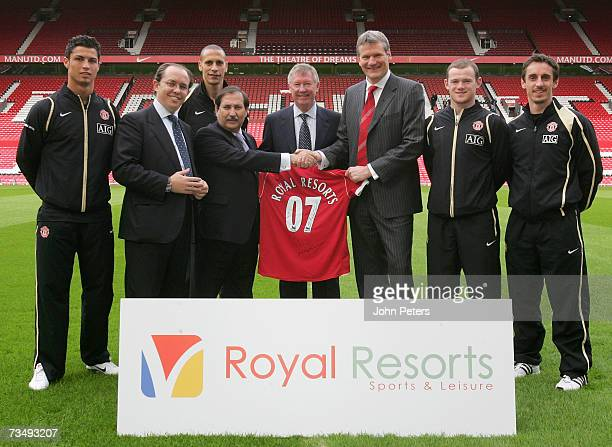 Sir Alex Ferguson Cristiano Ronaldo Gary Neville Rio Ferdinand and Wayne Rooney of Manchester United pose for a photograph at Old Trafford on March 5...