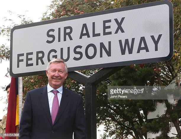 Sir Alex Ferguson former manager of Manchester United FC receives the honorary Freedom of the Borough of Trafford at a ceremony on October 14 2012 in...