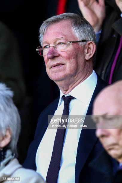 Sir Alex Ferguson looks on during the Premier League match between Burnley and Manchester United at Turf Moor on April 23 2017 in Burnley England