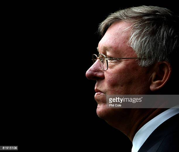 Sir Alex Ferguson looks on during the preseason friendly match between Aberdeen and Manchester United at Pittodrie Stadium on July 12 2008 in...