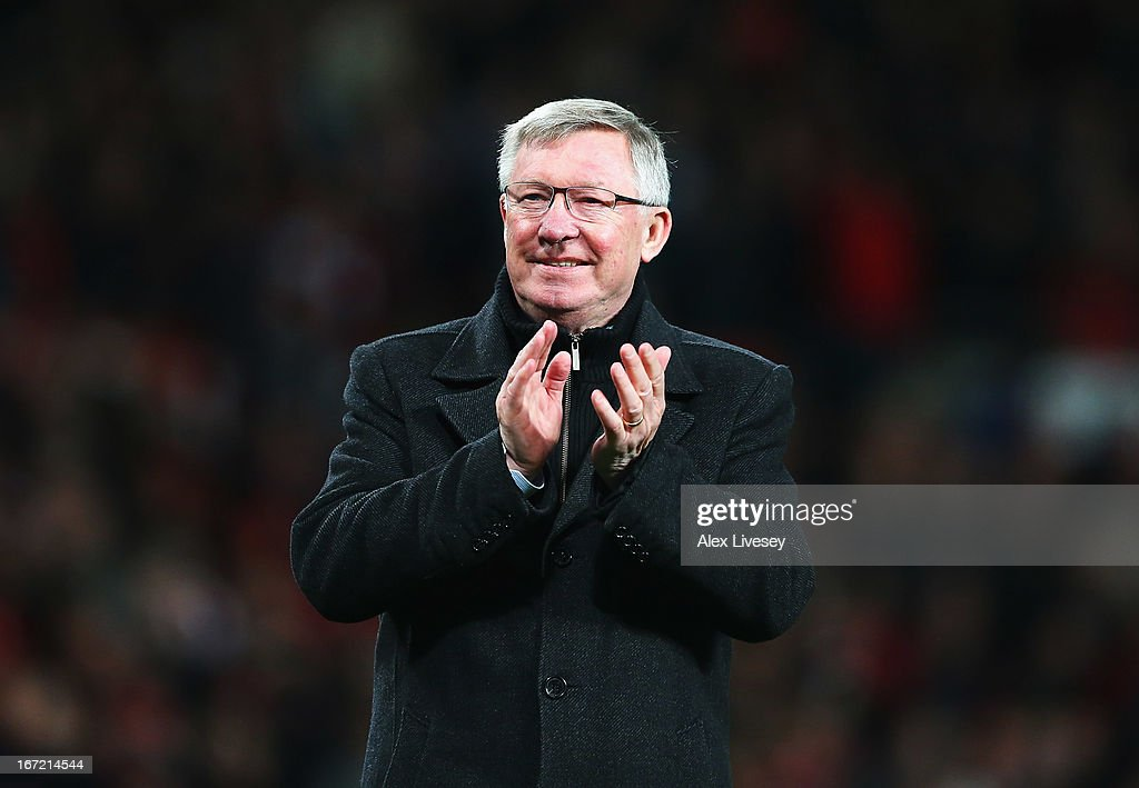 Sir Alex Ferguson, manager of Manchester United celebrates victory and winning the Premier League title after the Barclays Premier League match between Manchester United and Aston Villa at Old Trafford on April 22, 2013 in Manchester, England.