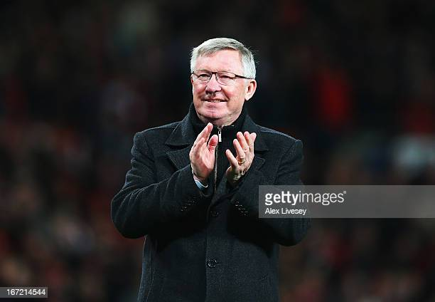 Sir Alex Ferguson manager of Manchester United celebrates victory and winning the Premier League title after the Barclays Premier League match...